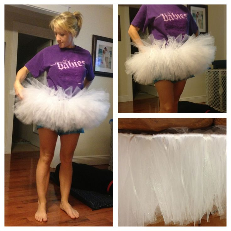 """My no-sew adult sized tutu for The Color Run in a few weeks is done!!! Here's how I did it: Elastic cut slightly larger than my waist. Wrap elastic around a chair back and safety pin. Used 4 spools of tulle (I think each spool is 20yds) and cut 20"""" strips. Loop knotted each strip around the elastic. Hand stitch, pin or knot the ends of elastic together to fit. DONE!"""