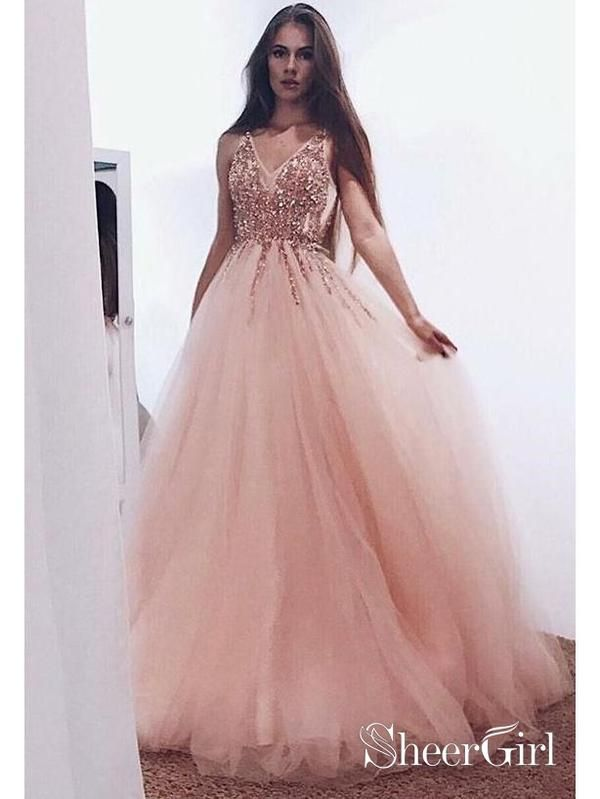 04fffcc47e309 Blush Pink Prom Dresses Beaded V Neck Tulle Ball Gown Prom Dress ARD1451- SheerGirl
