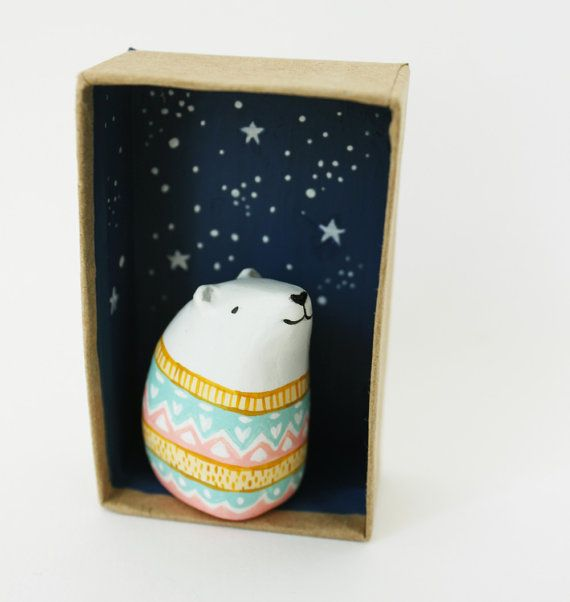 Animal figurine - Paper clay art object - Ursus the astrologer polar bear - Pocket box miniature scene