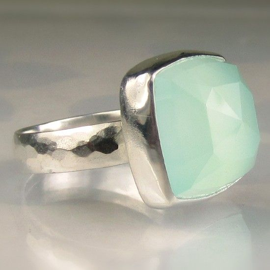 Sea Green Chalcedony Cocktail Ring $135.00    I want this ring!  I bet you do too @Amy Langholff