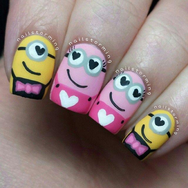 valentine minions by nailstorming #nail #nails #nailart<3<3<3CUTE NAIL-ART<3<3<3