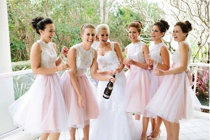 White Bridesmaid Dresses,Short Bridesmaid Gown,Summer Bridesmaid Gowns,Beach Bridesmaid Dress,Cheap Bridesmaid Gown,Lace Bodice Bridesmaid Dress,Pink Bridesmaid Gowns For Modest Brides PD20184893