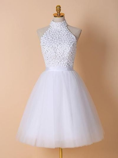White Homecoming Dresses,High Neck Homecoming Dress,Short Homecoming Dress from HotProm