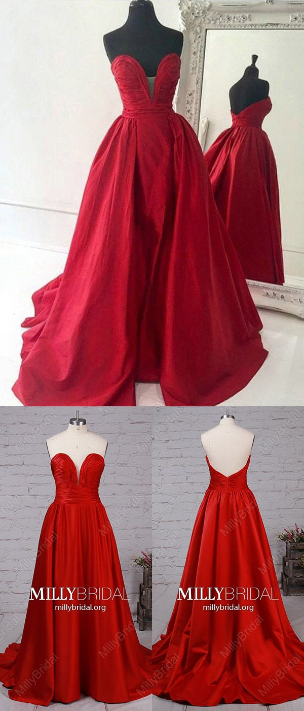 Red prom dresseslong formal evening dresses alinevneck military