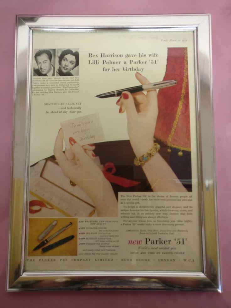 Framed Vintage Parker 51 Pen Advertisement from Punch Magazine 1952 by StephensTreasureBox on Etsy