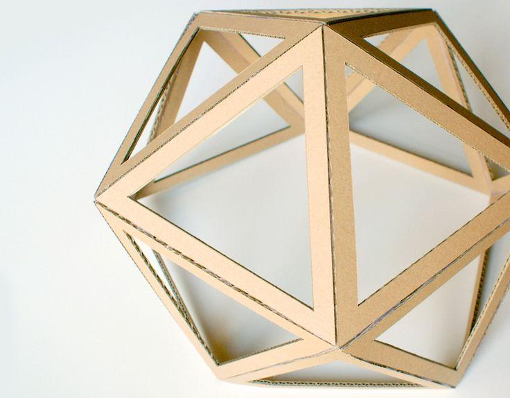 diy geo cardboard-shade. click on link for free template and video tutorial. http://www.helene-jourdain.fr/2015/04/abat-jour-diy-en-carton/