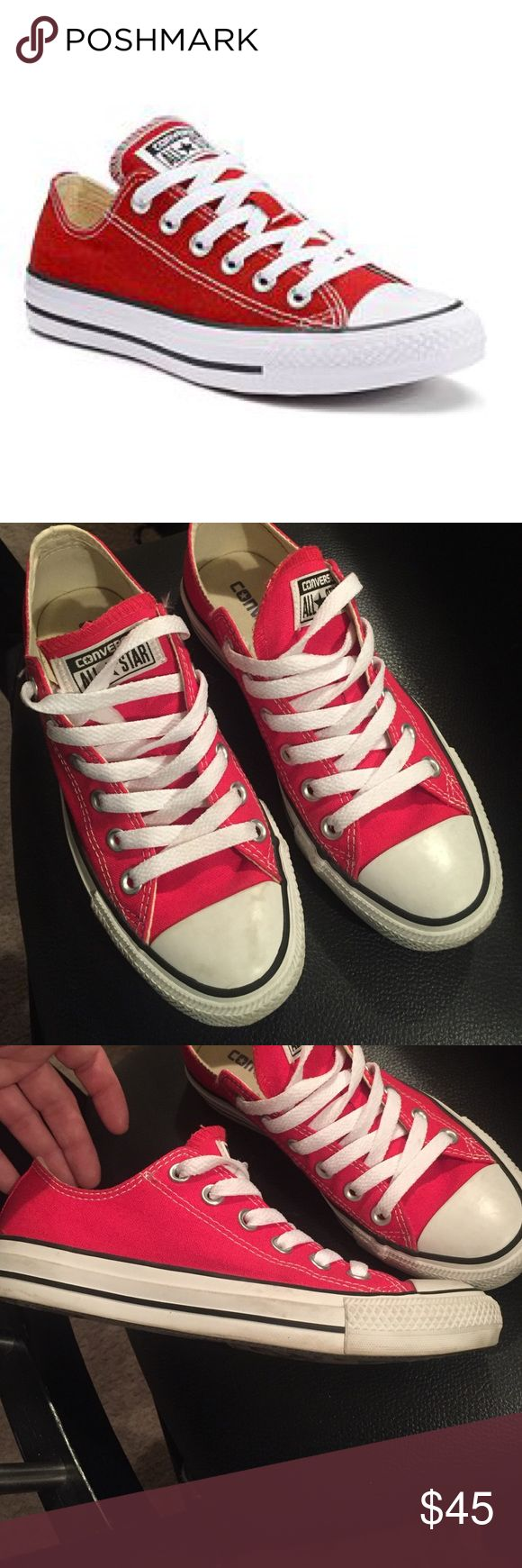 Red converse shoes Red converse shoes. Worn twice Converse Shoes