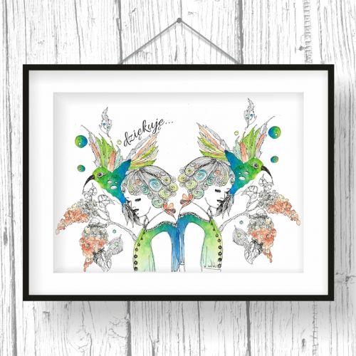 illustration, hummingbird, female, watercolor