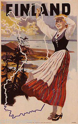 Финляндия залив финский женщина карта туризма путешествий с видом на океан винтажный плакат копия