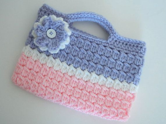 Crochet Purse Pink and Purple Valentine Ready to Ship by abbycove, $12.00