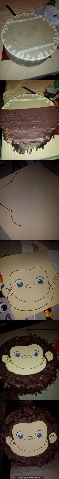 Cómo crear una piñata de Jorge el Curioso con cartón, papel crepé y goma eva. =) How to create a Curious George Piñata step by step - created via http://pinthemall.net
