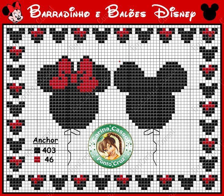 Free Cross Stitch Mickey and Minnie Balloon Chart