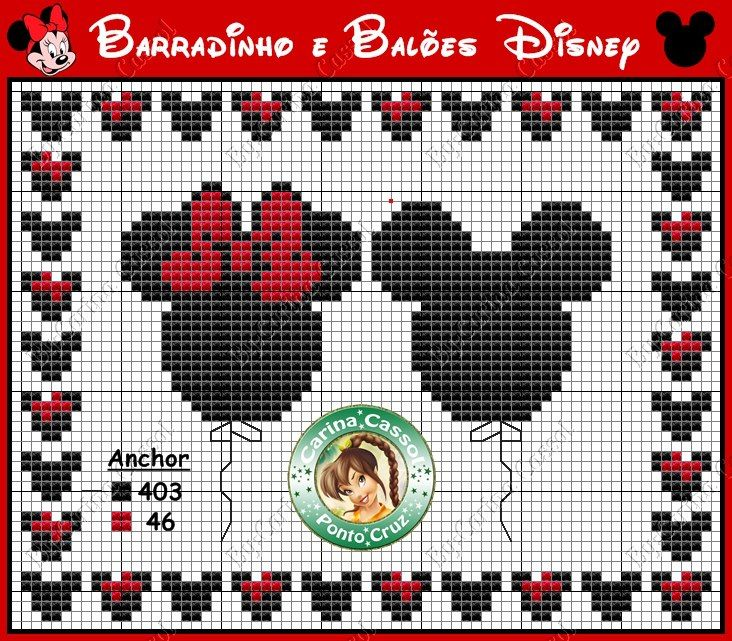 Free Cross Stitch Mickey and Minnie Balloon Chart