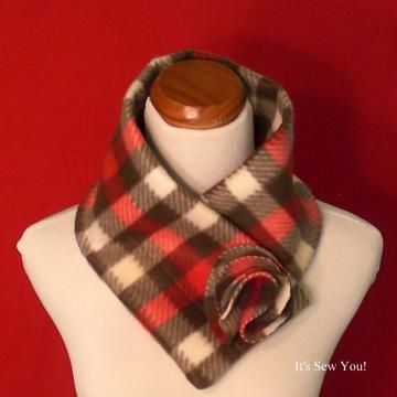Oh Sew Plaid soft and cozy Fleece Scarf/Scarflette/Cowl in a Soft Fleece.  One Size Fits Most. by ItsSewYou for $15.00