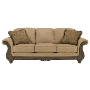 Cambridge - Amber Traditional 3-Seat Sofa with Carved Wood Accents by Signature Design by Ashley Furniture at Sam's Furniture & Appliance  Sofa possibility recover the pillows