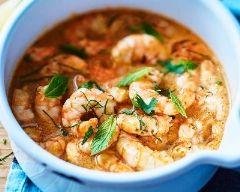 Curry rouge thaï aux crevettes