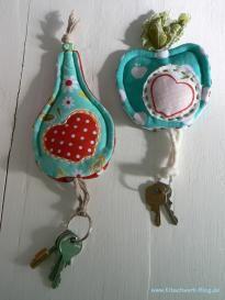Tasche, Schlüsseltäschchen, Stoff, nähen, Apfel, Birne, apple, pear, fabric, sewing, key purse