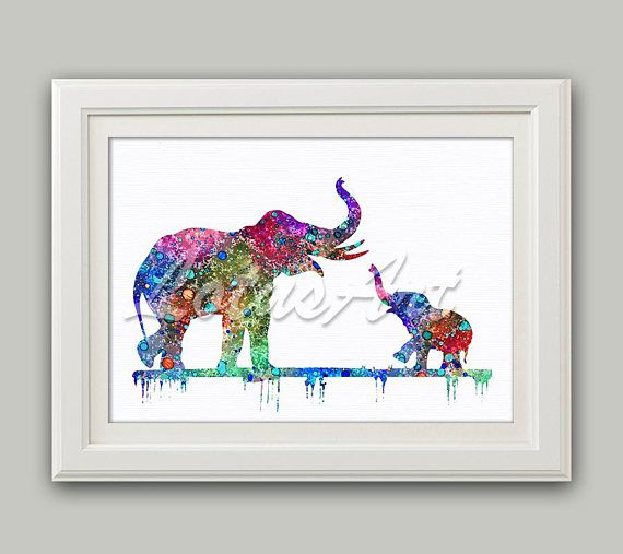Mom & Baby Elephant Watercolor Cute Baby Elephant Wall Art Elephant Print Nursery Art Elephant Home Decor Animal Lover Gifts Elephant Art