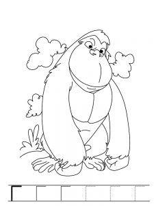 Animals Gorilla Printable Coloring Page For Preschool