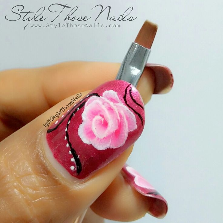 Style Those Nails: One Stroke Rose Nailart using Born Pretty Store Flat Brush : A review