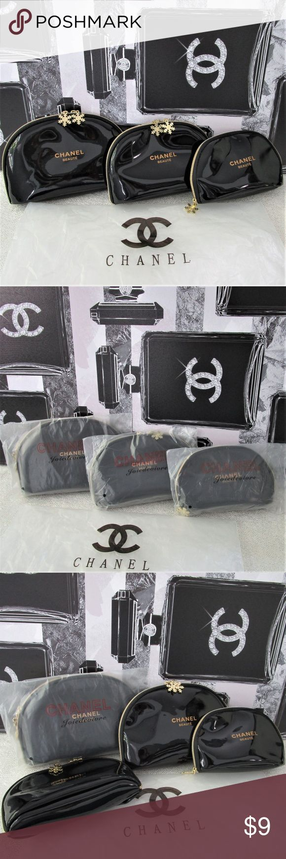 NEW Chanel Black Snowflake Makeup Bags 3 PC Set LIMITED