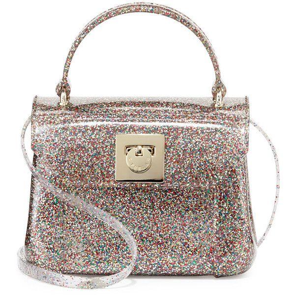 Furla Candy Bon Bon Glittered Mini Crossbody (207 AUD) ❤ liked on Polyvore featuring bags, handbags, shoulder bags, purses, mini shoulder bag, white shoulder bag, handbag purse, hand bags and cross-body handbag