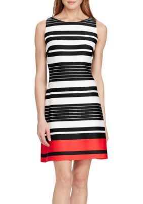 American Living  CreamBlackRed Multi Schiller Seaside Striped Dress