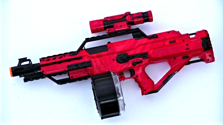 A red and black Nerf Stampede.