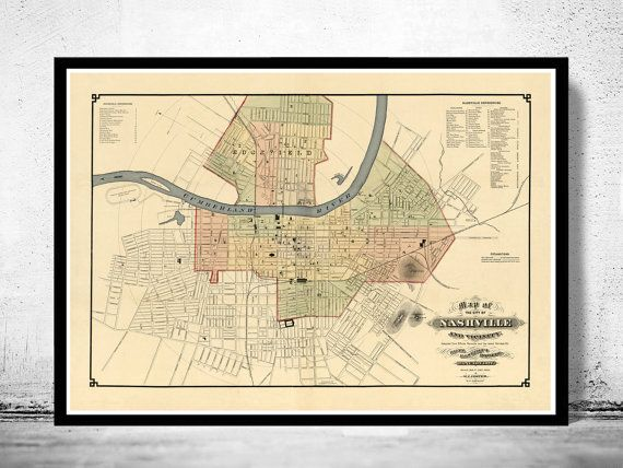 Old map of Nashville Tennessee 1877 by OldCityPrints on Etsy