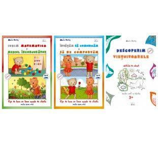 """Setulpromotional pentru 3-4 ani este format din trei caiete:""""Invatam sa comunicam si sa ne comportam 3-4 ani"""", fise de lucru pe teme anuale de studiu,""""Iubim matematica si mediul inconjurator 3-4 ani"""", fise de lucru pe teme anuale de studiu si cartea de colorat""""Descoperim vietuitoarele, pentru 3+""""."""