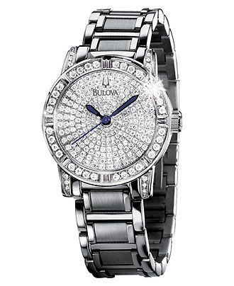 Bulova Watch, Women's Diamond Dial Stainless Steel Bracelet (1-1/4 ct. t.w.) 96R116 - Bulova - Jewelry & Watches - Macy's