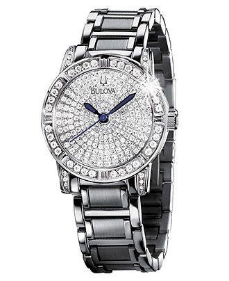 Bulova Watch, Women's Diamond Dial Stainless Steel Bracelet (1-1/4 ct. t.w.) 96R116 - Bulova - Jewelry & Watches - Macy's