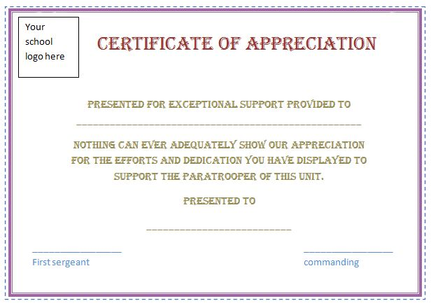 Captivating Free Certificate Of Appreciation Template (Purple Border)  Certificate Sayings