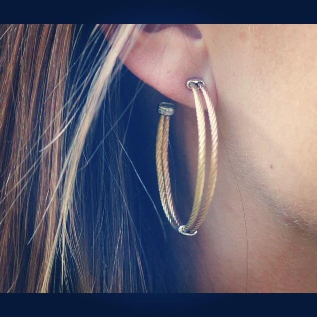 These Modern Mix hoops with blush and yellow cable are one of our Fall 2012 favs - we're sure we'll be wearing these well into the spring and summer months too! We can picture it now...chunky sweaters and riding boots for fall and winter, and summery dresses and sandals when the weather is warm...  http://www.diamonddistrictusa.com/alor Or call Diamond District at 239.947.3434
