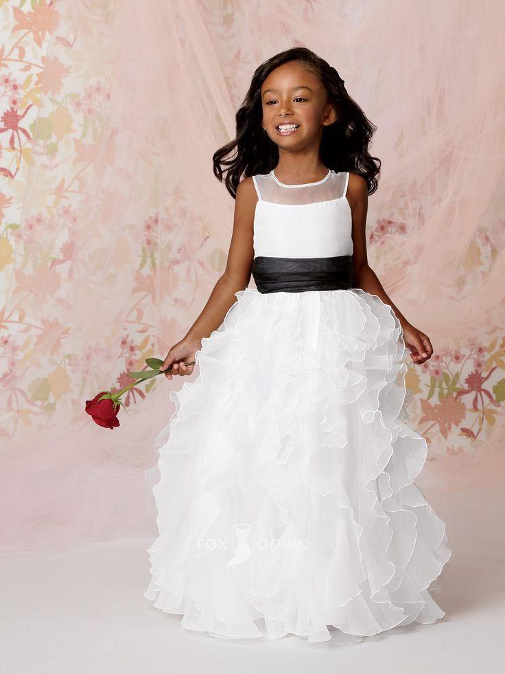 54 best flower girl images on pinterest girls dresses marriage illusion crew neck ruffled skirt floor length a line flower girl dress with black belt mightylinksfo