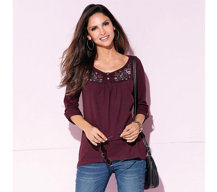 Volné tričko s výšivkou a 3/4 rukávy   modino.cz #modino_cz #modino_style #style #fashion #autumn #bestseller #podzim