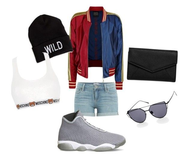 """""""roooockkk"""" by itstyrell on Polyvore featuring Paige Denim, NIKE, LULUS, American Eagle Outfitters and Moschino"""