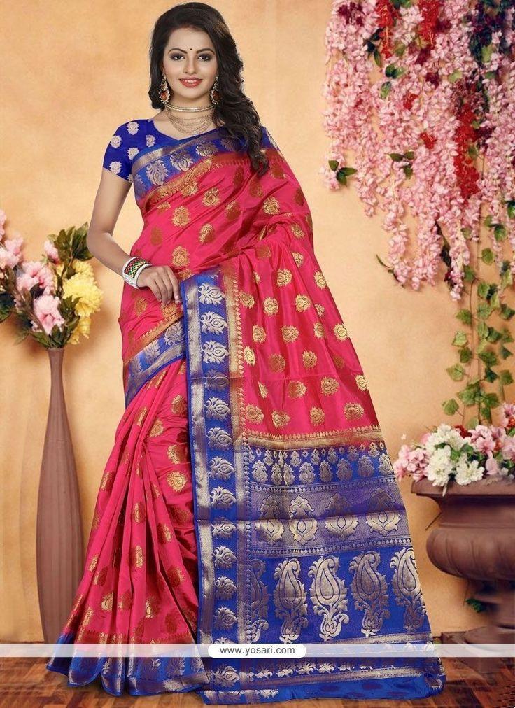 Art Silk Rose Pink Designer Traditional Saree