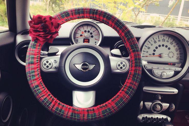 Car Steering wheel cover-Red Scottish Tartan Plaid with Chiffon Flower, Unique Automobile Accessories, Car Decor, Automobile Wheel cover by CarSoda on Etsy https://www.etsy.com/listing/179153516/car-steering-wheel-cover-red-scottish