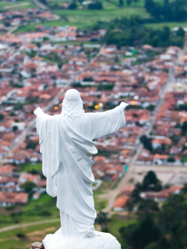 Town of Villa De Leyva with a Statue of Jesus Christ at the Summit, Cartagena, Colombia by Micah Wright