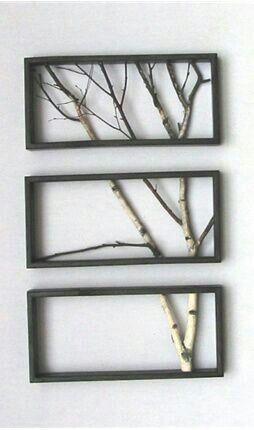 création: intérieur du cadre avec la poursuite d'un arbre à l'aide de trois parties (cadres)