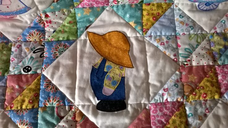 Patchwork copertina per culla - Patchwork baby quilt sunbonnet Sam