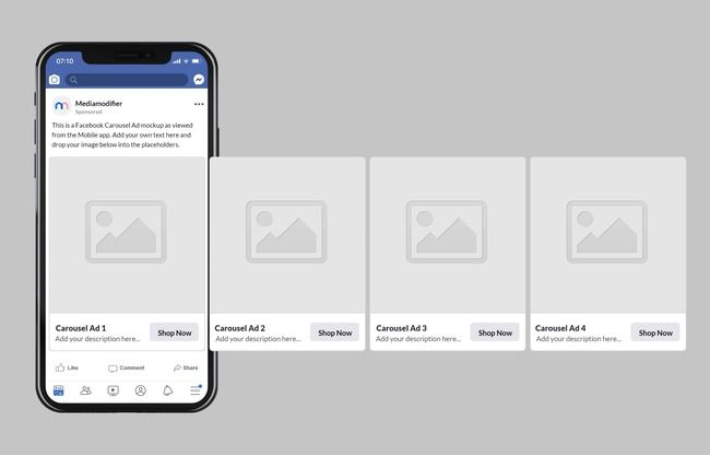 Launching A Carousel Ad On Facebook Use This Mockup Template For Visualizing How Your Ad Idea Or Conc Social Media Mockup Facebook Mockup Facebook Post Mockup