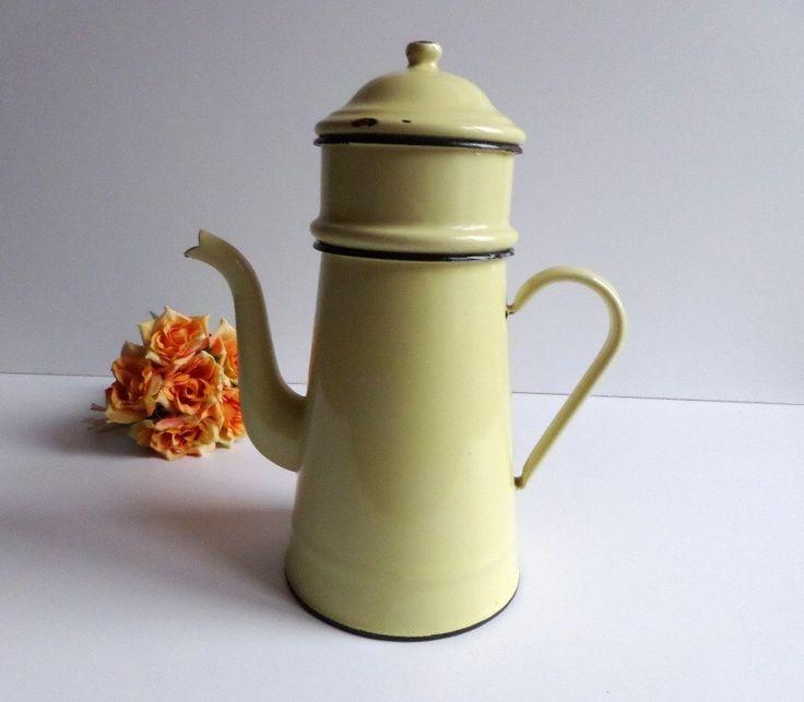 Enamel coffee pot French graniteware, vintage yellow coffee maker, farmhouse decor, Rustic kitchen by VintageFindsFrance on Etsy https://www.etsy.com/listing/231167303/enamel-coffee-pot-french-graniteware