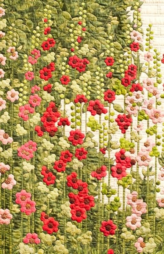 Patchwork . materiales patchwork - making embroidered floral garden effect