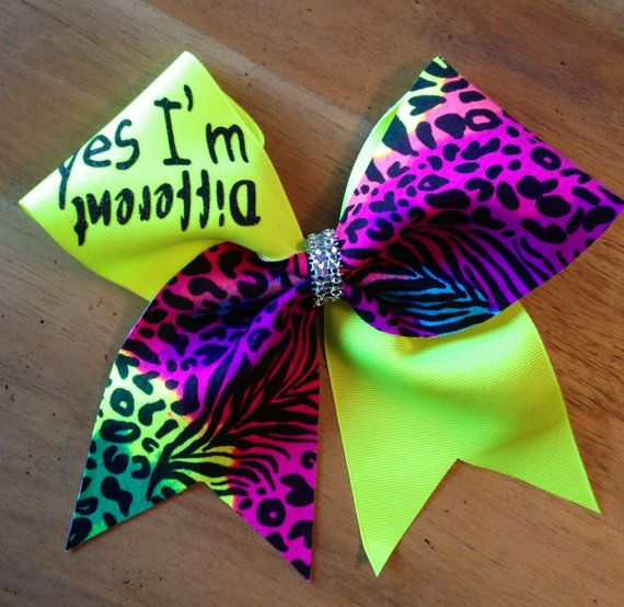 Hey, I found this really awesome Etsy listing at https://www.etsy.com/listing/186302228/yes-im-different-neon-cheetah-cheer-bow