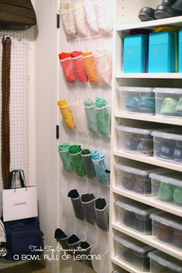 Tank tops in a shoe organizer - genious!