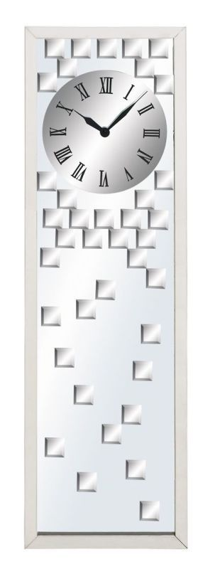 Aspire Home Accents 51740 Modern Design Mirror Wall Clock Silver Home Decor Clocks Wall Clocks