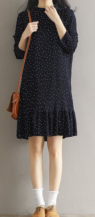 Women loose fit over plus size retro polka dots dress tunic pregnant maternity #Unbranded #dress #Casual
