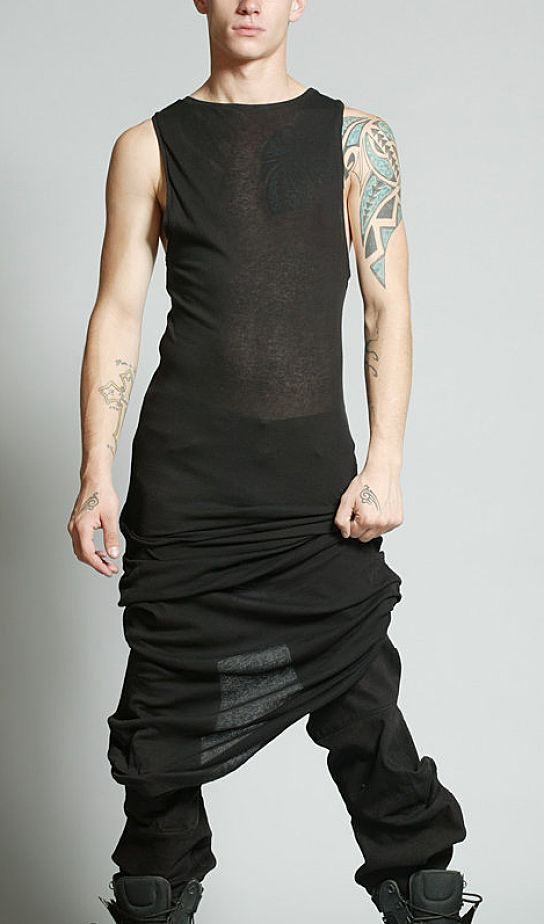FULL LENGTH TANK DRESS by Asher Levine - Again.. dresses on guys :( At least this os trying really hard to be more masculine and its nearly acceptable.